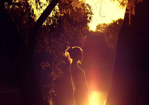 girl, lake, light, sun, sunlight