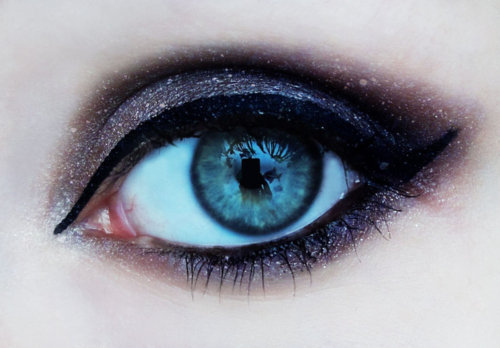 black, blue, eyes, make up