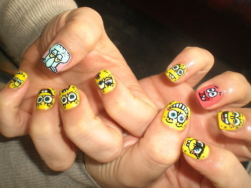 cute, frode, hand, nail polish, nails, patrick, sponge bob, spongebob, squidward