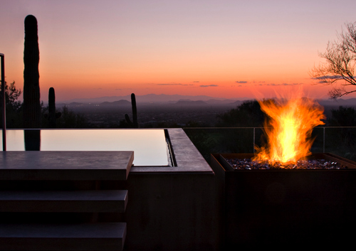 design, evening, fire, fireplace, pool, sky, sunset, swimming pool, wood