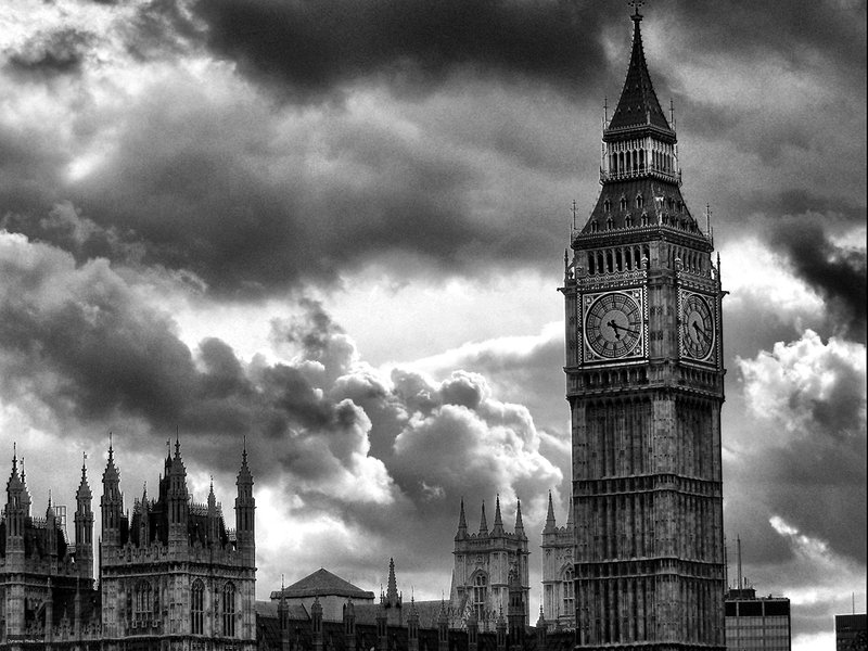big ben, black and white, city, clock, clouds