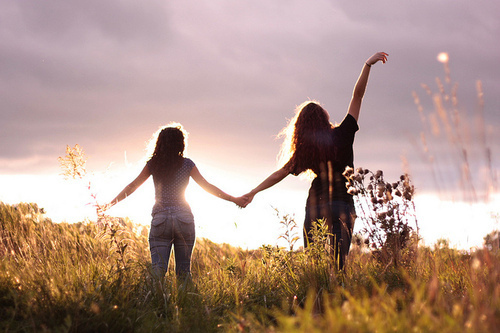 Blue friends friendship girls hair love photography pink sky