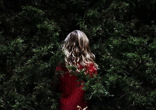 christmas, curly hair, forest, girl, hair