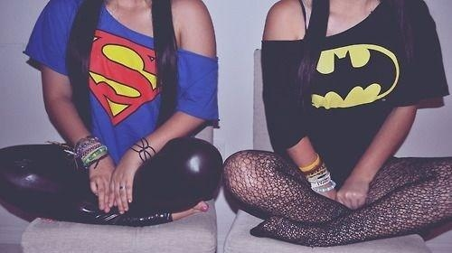 batman, bracelets, cute, fashion, girl, girls, leather, outfit, photography, supergirl, t-shirt, tights