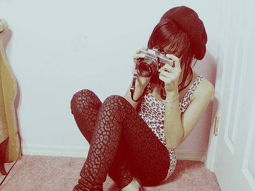 black, camera, girl, hat, leopard