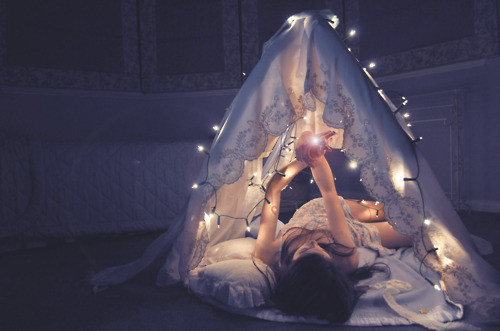 bed, fairylights, girl, lights, magic, pretty, tent, white