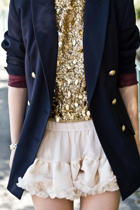 blazer, blue, clothes, fashion, girl, gold, sequins, skirt, white, First Set on Favim.com