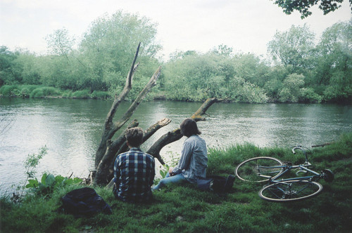 bike, boy, couple, girl, grass, love, nature, photography, river, water