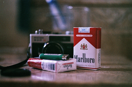 camera, cigarette, cigarro, marlboro, photograph, smoke