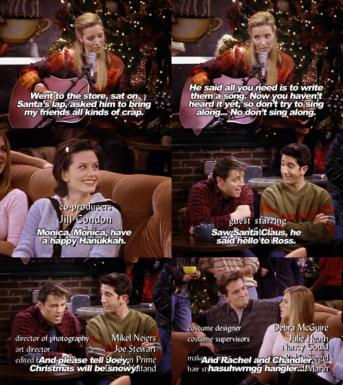 chandler, christmas, friends, joe, joey, monica, phoebe, rachel, ross, xmas