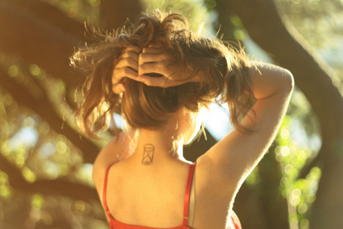 girl, hair, hourglass, neck, small tattoo, tattoo, time