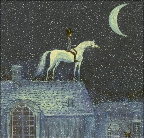 animal, art, hat, horse, house, illustration, moon, night, roof, sky, star, stars, white horse