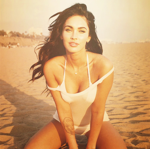 beach, fake, fox, girl, megan, megan fox, tattoo