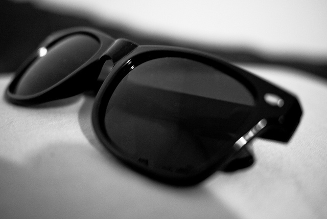 black and white, glasses, photography and wayfarer