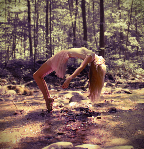 blonde, float, forest, girl, hair, nature, pink, river