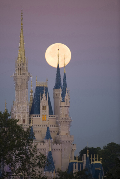 blue, castle, cinderella, disney, full moon