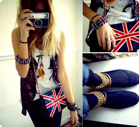 arm cuff, bag, blonde, blue, bracelet, britain, camera, chains, cuff, england, england flag, english, fashion, gold, golden chains, red, vintage, white
