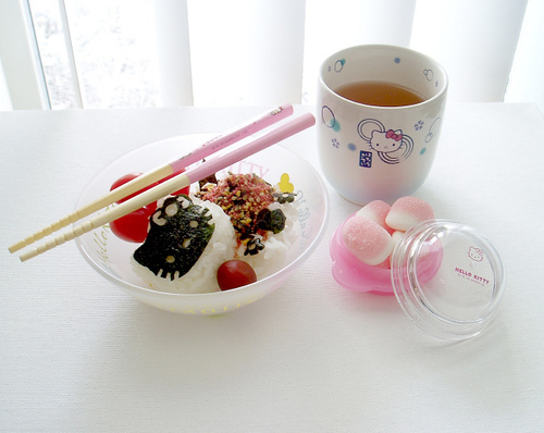bento, chopsticks, cute, food, hello kitty, japan, japanese, kawaii