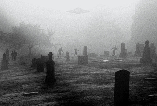 black and white, cemetary, creepy, dead, death