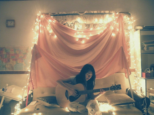 alone, girl, guitar, light, music