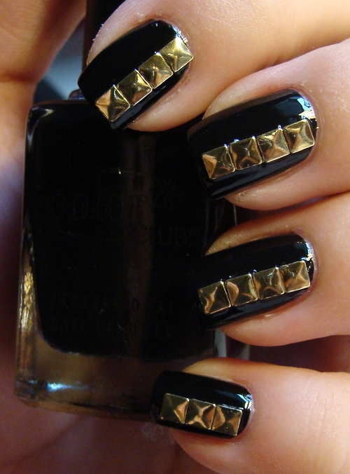 black, cool, nails, polish, studs