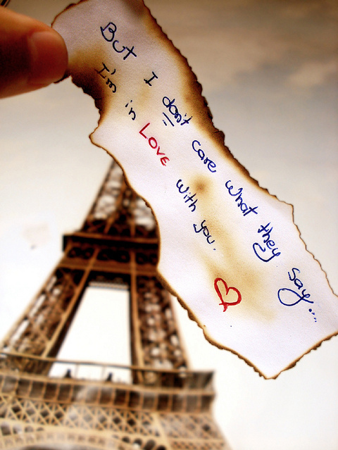 eiffel tower, heart, image quote, love, quote, typography
