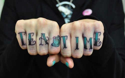 hand, hand tattoo , tattoo, tea, tea time
