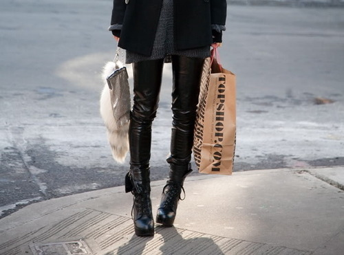 bag, black, coat, cool, famle, fur, girl, heels, shoes, shop, skinny, skinny legs, street, sweater, thing, topshop