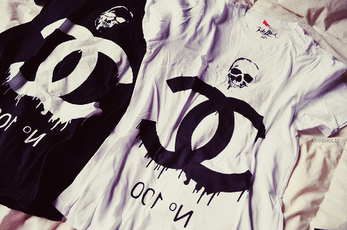 black, chanel, shirt, skull, t-shirt
