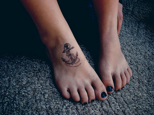 anchor cute foot girl tattoo image 133332 on. Black Bedroom Furniture Sets. Home Design Ideas