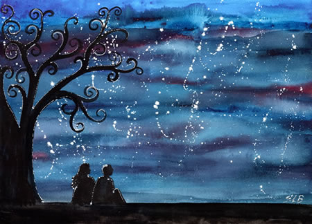 art, blue, couple, dream, friendship, love, night, star, stars, tree, wash, wish