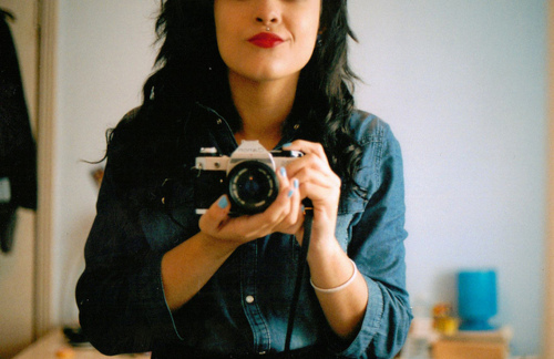 black, black hair, camera, cool, denim, face, famle, girl, lips, lipstick, photo, piercing, red lips, red lipstick, she looks demi lol, shirt, slim, smile, thin