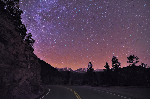 galaxy, love, night, road, sky