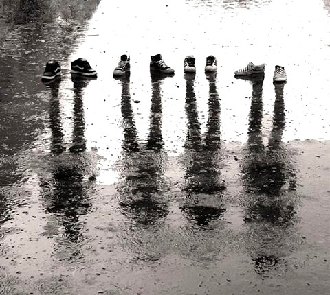 black and white, cool, ghosts, rain, reflection, shoes, water