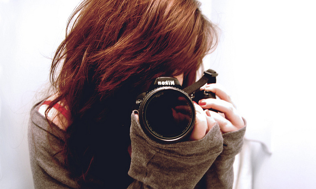 camera, girl, hair, mirror, nikon