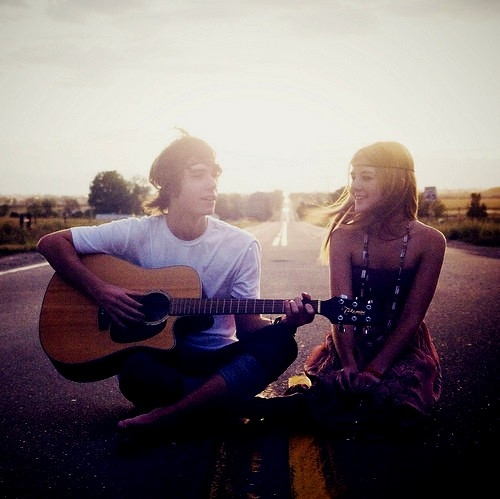 boy, couple, cute, girl, guitar, music, photography, street