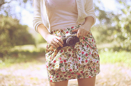 camera, cute, fashion, floral, flowers