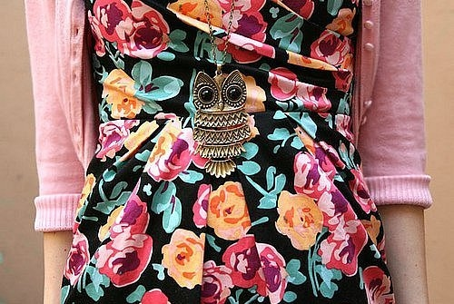 dress, fashion, floral, girl, necklace, owl, pink, sweater