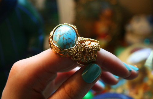adorable, arty, gorgeous, nails, ring, robins egg, ysl, ysl arty