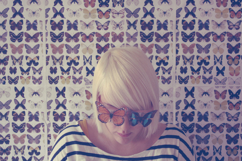 blonde, butterflies, delicate, girl, pattern, short hair, stripes, wallpaper
