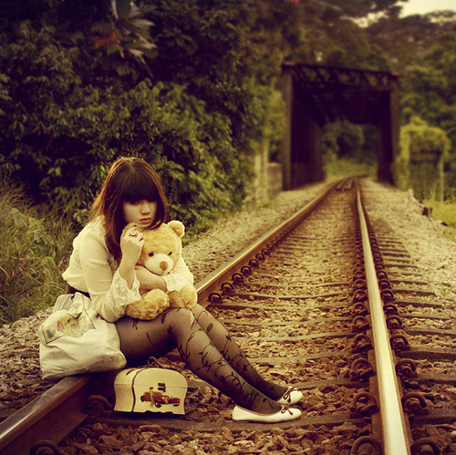 asian, bear, black, fashion, girl, hair, love, nature, photography, pretty, stilettos, train, train tracks, vintage
