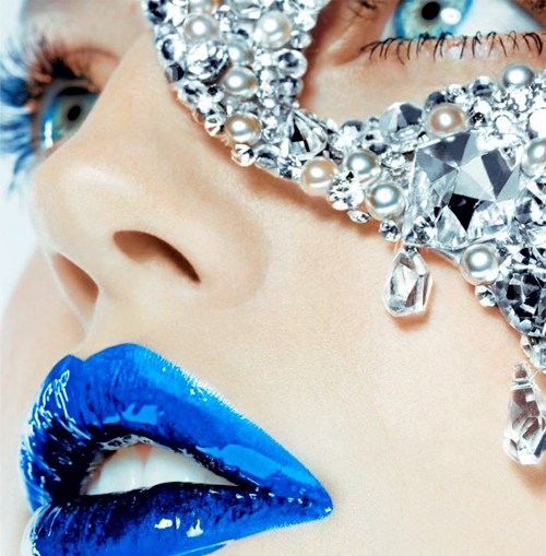 blue, blue eyes, blue lips, blye, diamonds