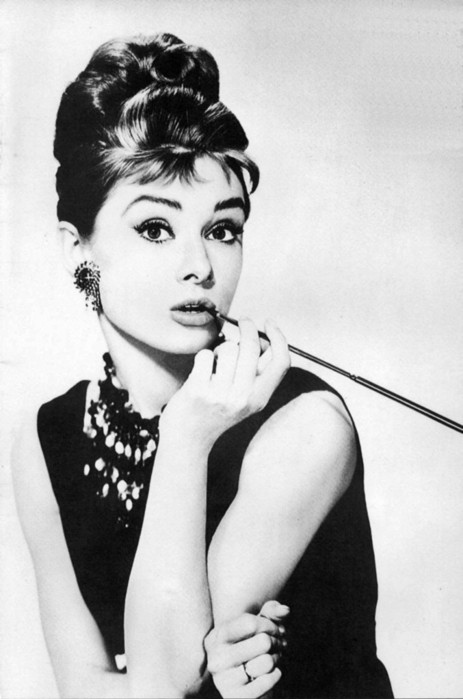 audrey hepburn, beautiful, black and white, eyes, girl, hair, holly golightly, model, pretty, smoke, vintage