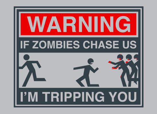 funny, humor, tripping, warning, zombie