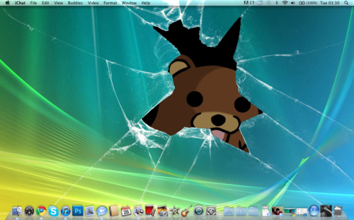 apple, bear, broken, computer, crack