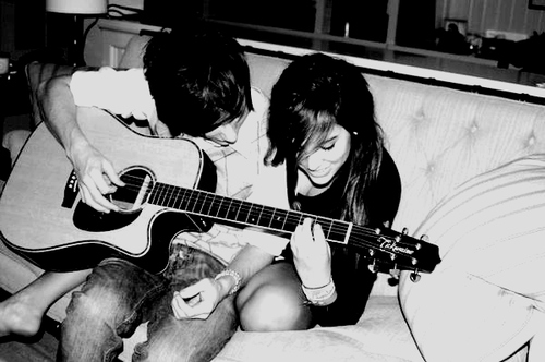 adorible, black & white, couple, cute, guitar, love