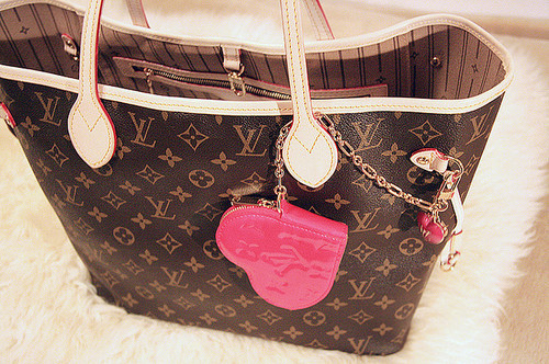 bag, heart, louis vuitton, neverfull, pink
