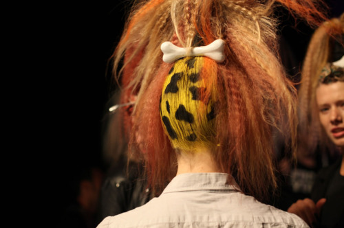 accentric, beautiful, bone, clip, clip hair, cute, fashion, fashion show, flinstones, funky, funny, girl, hair, jeremy scott, leopard, model, pony tail, runway, style, tail, weird, wow, yellow