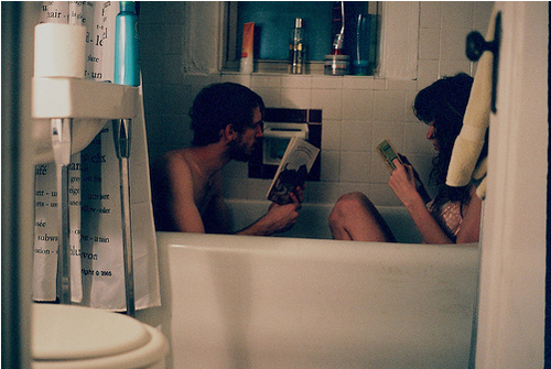bath, bathroom, boy, couple, girl, light, photography, soap