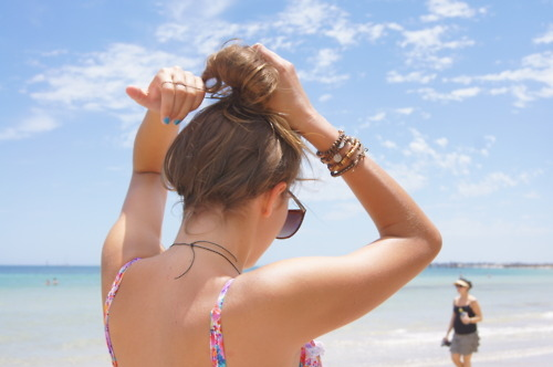 beach, bikini, bun, colourful, hair, nails, pretty, sky, summer